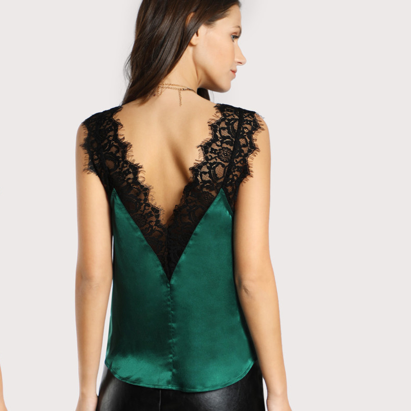 B&N Green Elegant Workwear Women\`s Sleeveless Tops Lace Trim Double V Neck Satin Silk Top Sexy Tops for Women Fitness Tank Top5