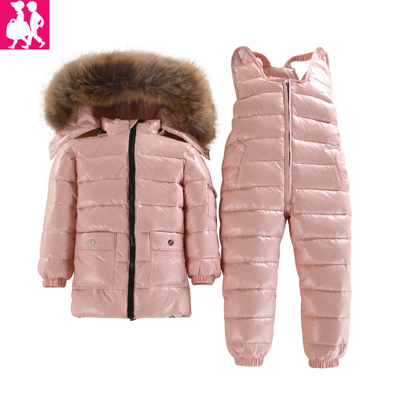 -40 Degrees Clothing Winter Jacket For Girls Boys White Duck Down Jacket+Pants Suit Solid Thick Outerwear Coats Waterproof 300cm 300cm vinyl custom photography backdrops prop digital photo studio background s 4624