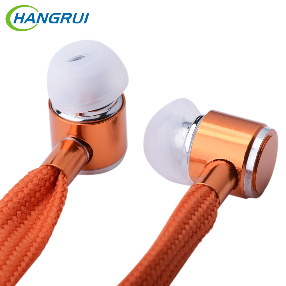 Hangrui shoelace earphone subwoofer music headset with microphone wired control handsfree earpiece for xiao mi phone earphones