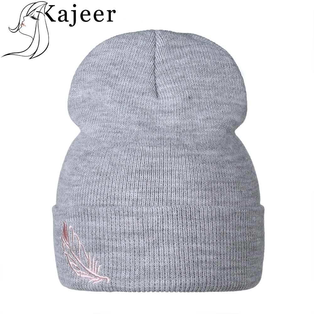 9fd81a7f4a1 Kajeer 2019 Brand New Fashion Embroidery Winter Hats Wool Women s Autumn  Vogue Warm Double Layer Knitted