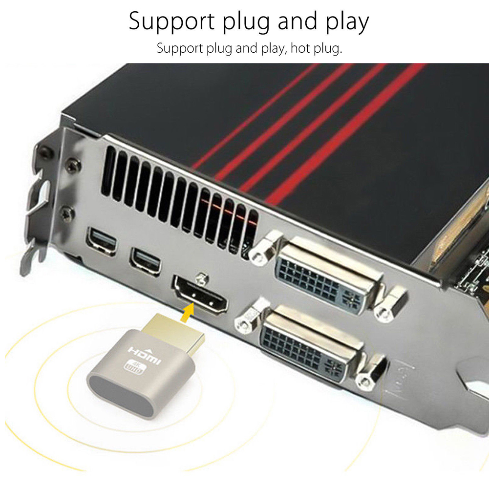 Block Plate Fake Headless Display Emulator Connector 1920x1080 4K Small Dummy Plug Computer Accessories VGA Virtual Locking HDMI