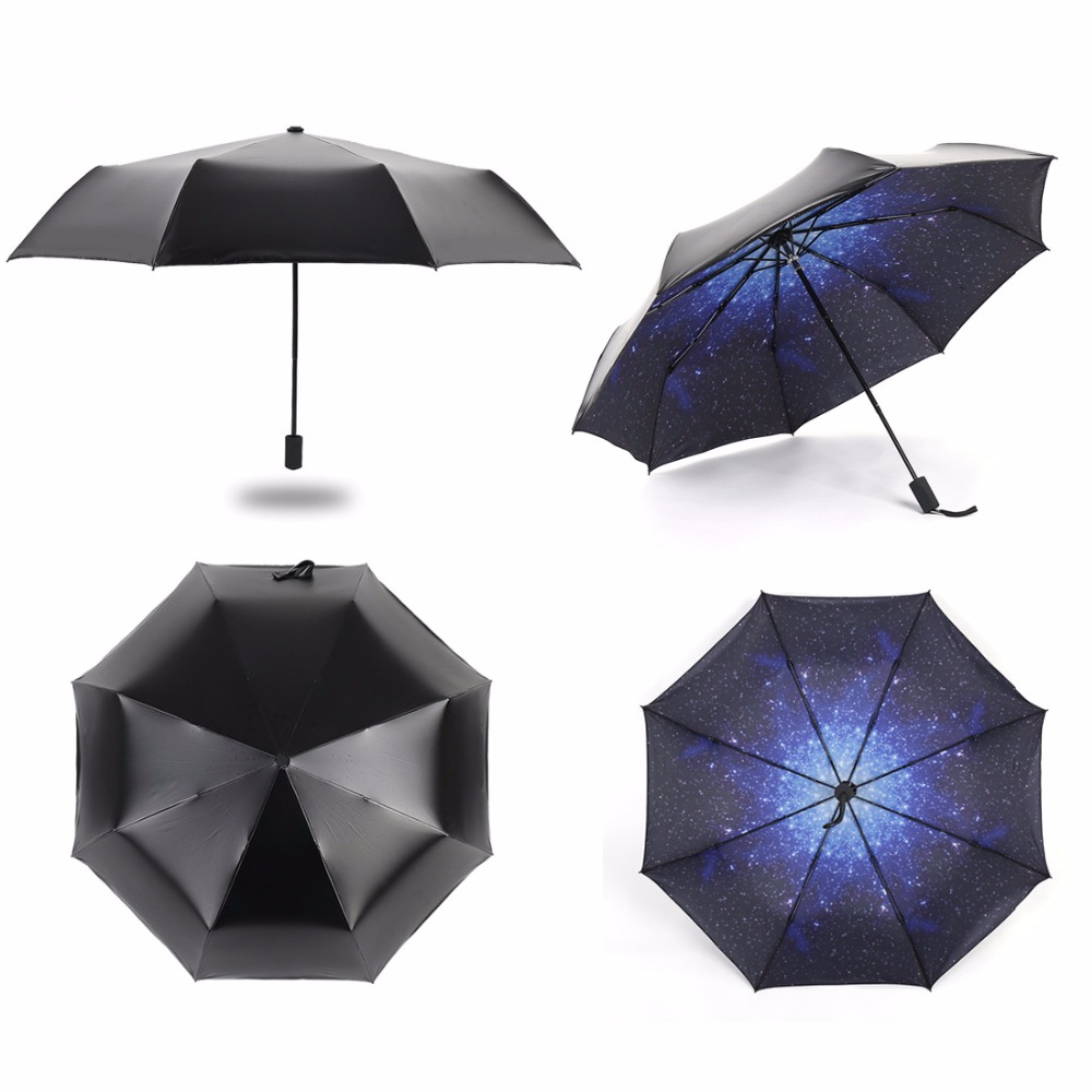 Starry Sky Anti UV Double Layer Inside Out UV Protect Umbrella Mini Pocket Compact Folding Sun Uv Rain Travel Portable Tool