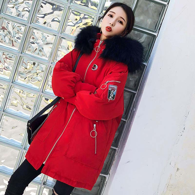 Black Supérieure À Impression red Col Long Nouvelle Fourrure creamywhite De Moyen Taille Hiver Doudoune Nuw207 Femmes Chaud Qualité Mode Capuche Grande 2019 C87fHq