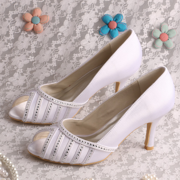 Wedopus Charming White Satin Shoes Wedding Ladies Dress Shoes heels with Crystal Dropship