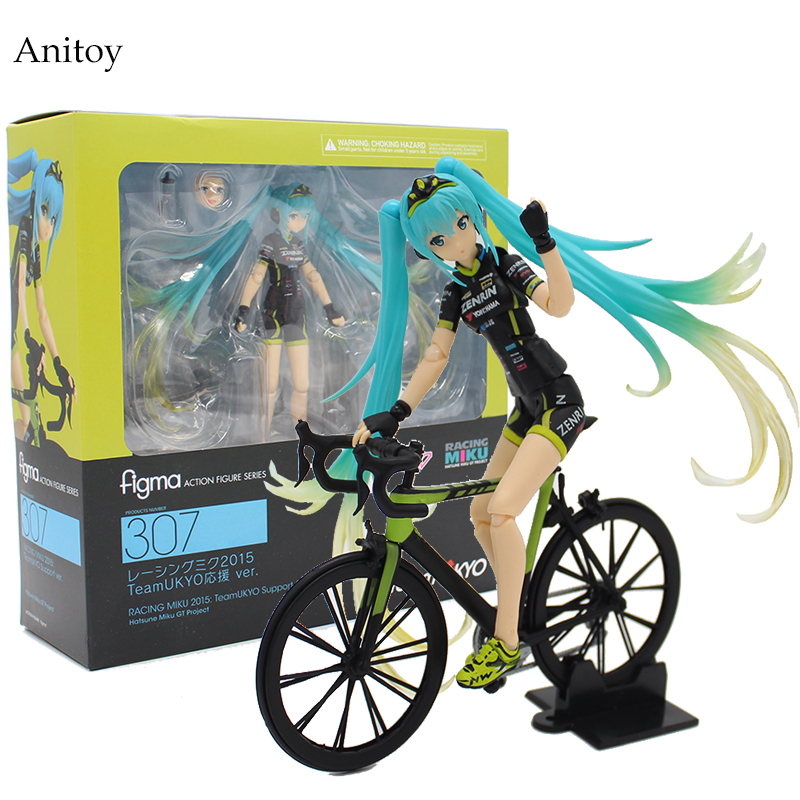 Hatsune Miku Ride Bicycle Figma 307 RACING MIKU 2015: TeaomUKYO Support ver. PVC Figure Collectible Toy 15cm KT4009 hatsune miku ride bicycle figma 307 racing miku 2015 teaomukyo support ver pvc figure collectible toy 15cm kt4009