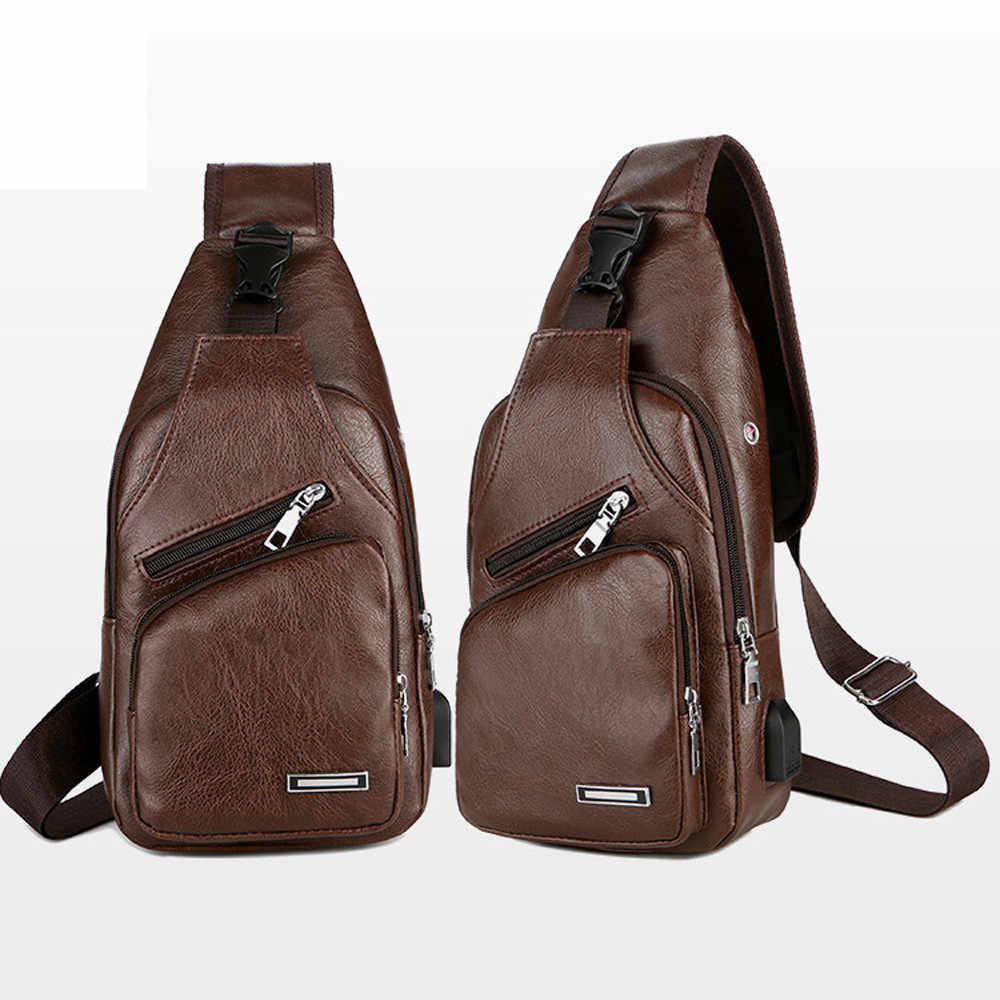 Mannen Borst Zak Mannen Lederen Borst Pack USB Backbag Met Hoofdtelefoon Gat Functionele Travel Organizer Mannelijke Sling Bag Crossbody # P