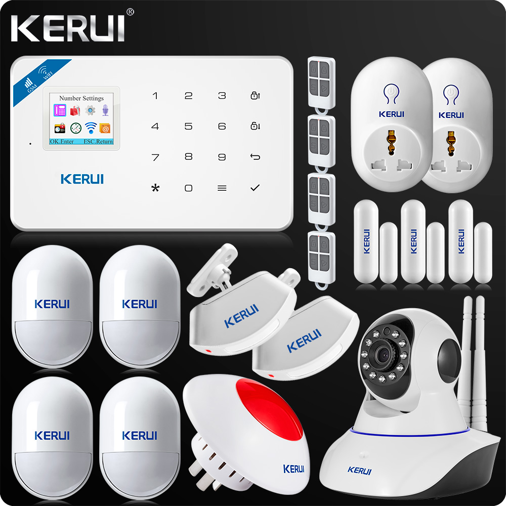 2018 Newest KERUI W18 WIFI GSM SMS Home Burglar Security Alarm System Russian English Voice Wifi IP Camera 720P+Smart Socket wireless smoke fire detector for wireless for touch keypad panel wifi gsm home security burglar voice alarm system