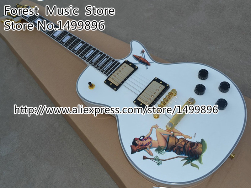 Top Selling White 22 Frets LP Custom Electric Guitar China OEM Finish LP Guitar As Picture new arrival custom 22 lp guitar with tin top custom guitar & kit available