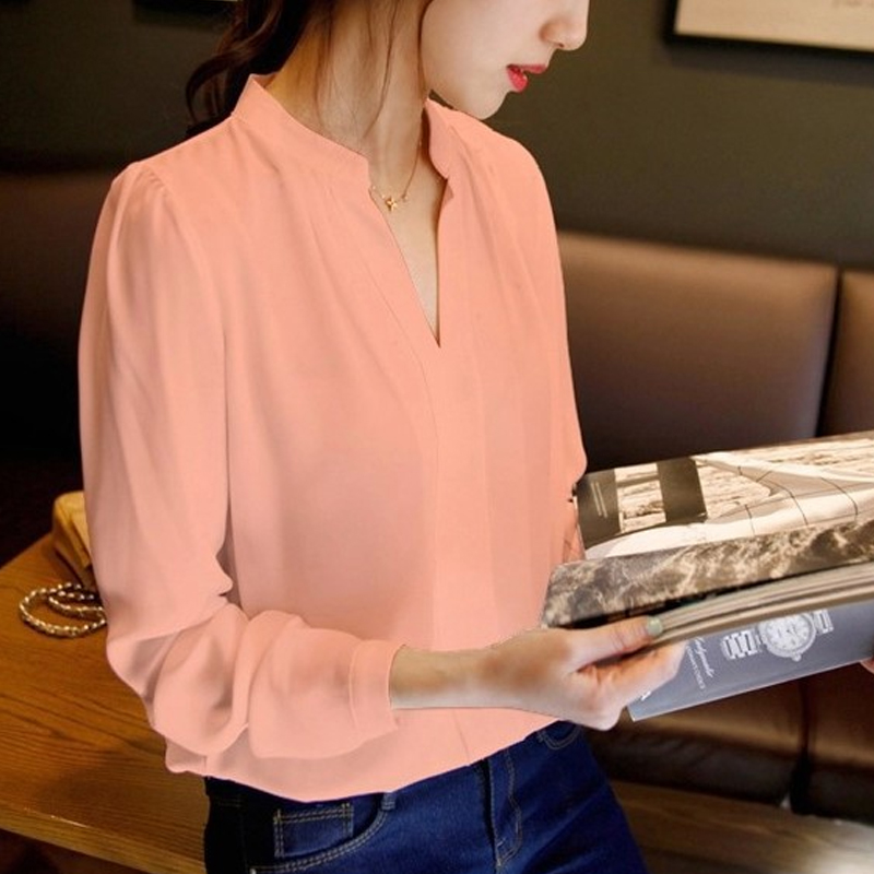 2019 fashion chiffon office lady   shirt   women   blouse   long sleeve V-neck women tops patchwork women's clothing   shirts   Tops