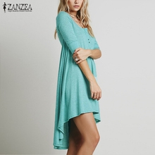 Vestidos 2018 Spring ZANZEA Women Casual Loose Cotton Half Sleeve Sexy V Neck Button Irregular Hem Solid Dress Plus Size Tee Top