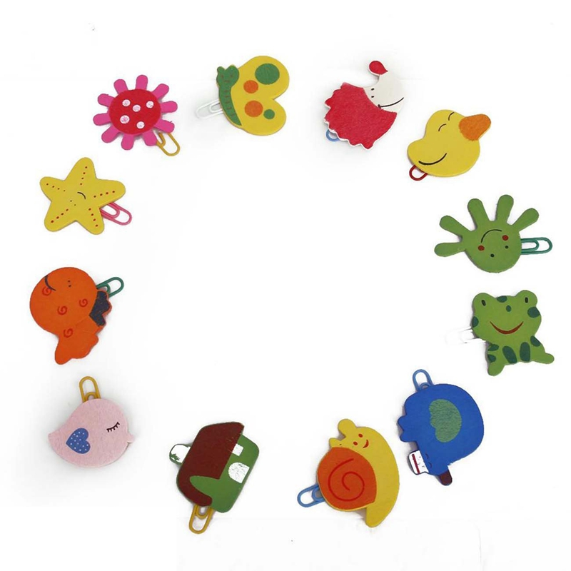 12 PCS Colorful Shapes Kids Children Cartoon Clip Bookmarks Beautiful