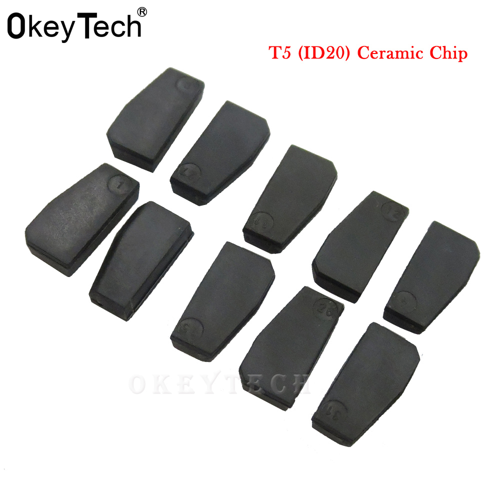 OkeyTech 10pcs/lot New ID T5-20 Transponder Chip Blank Carbon T5 Cloneable Chip for Car Key Cemamic T5 Chip (China)