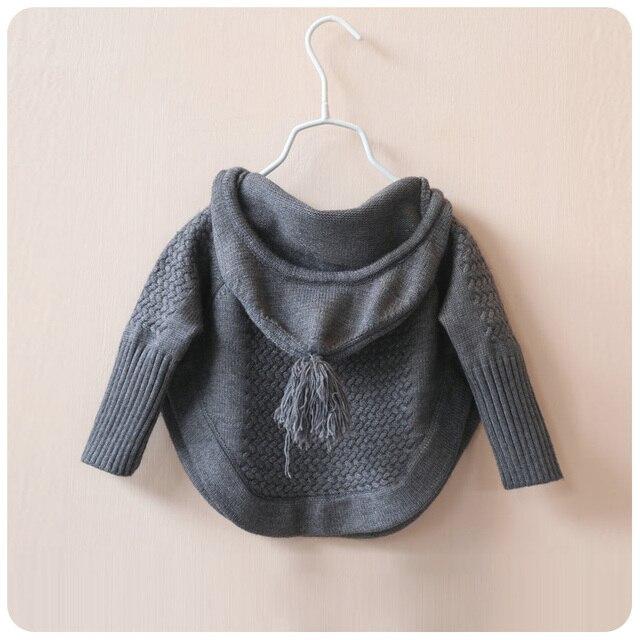 Вязаный свитер для девочек зимой свободной летучей мыши пуловеры свитер подол пуловеры малыша девушки зимняя одежда с кисточкой