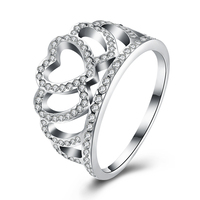 2017 Summer Collection Pure 925 Sterling Silver Heart Crown Rings With CZ For Women Wedding Original