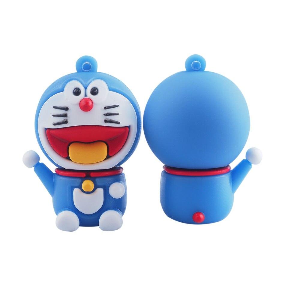 Gerçek Kapasite Karikatür Doraemon USB Flash Sürücü Kalem Sürücü 8 gb 16 gb 32 gb 64 gb Harici Depolama Pendrive USB 2.0 Bellek Sopa