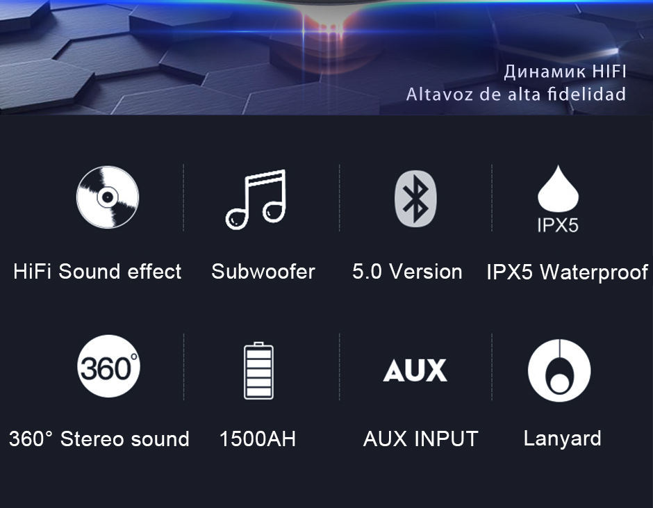 Opruide HiFi Waterproof Portable Bluetooth Speaker With 3D Stereo Music Surround And AUX For Smartphone 7