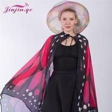 Jinjin.QC Fashion Women Scarf Beach Pashmina Butterfly Wing Cape Shawl Wrap Novelty Print Scarves Gradient Poncho Pashminas цена 2017