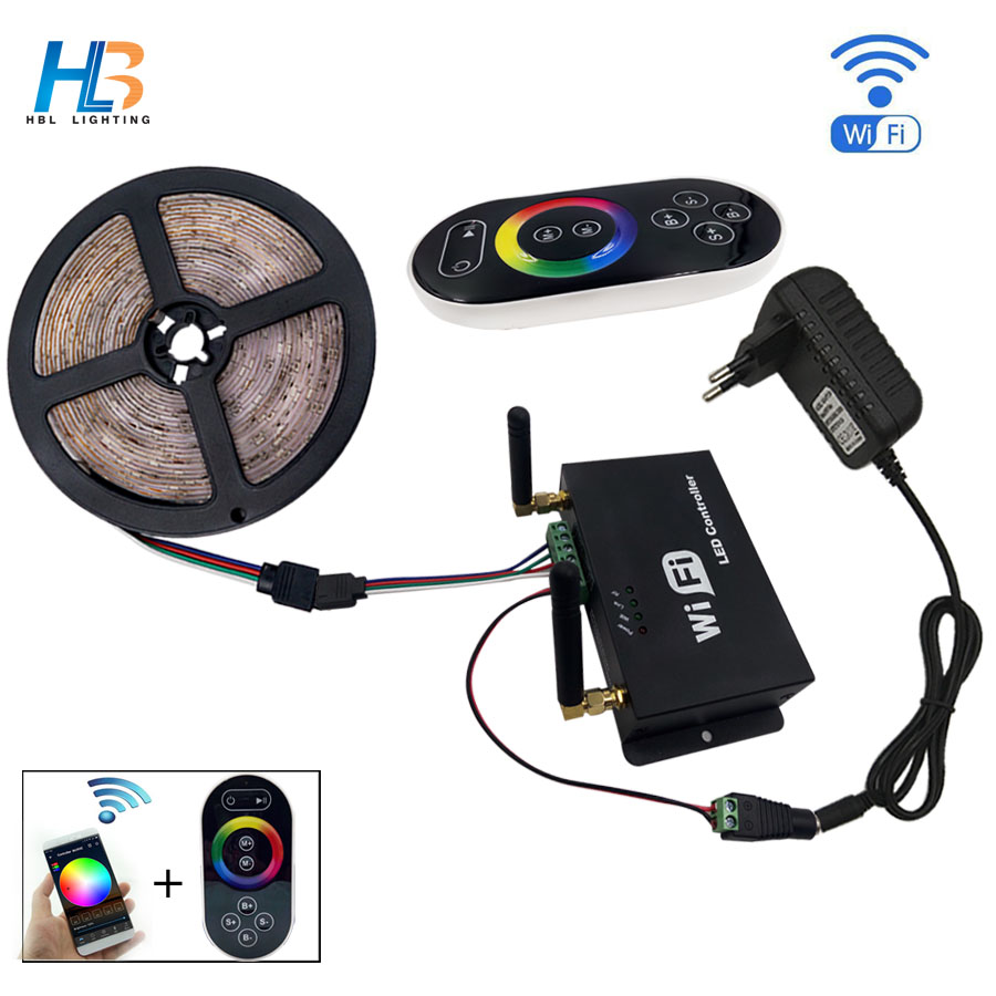 HBL led strip 2835 5M 10M RGB LED strip light 15M 20M 3528 SMD led ribbon flexible LED tape non Waterproof 12V Adapter full set 5m 300pcs 3528 smd leds 36w 900lm non waterproof highlight decoration strip lamp rgb
