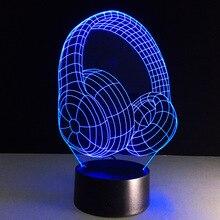Hot 3D Acrylic Earphone Illusion Table Lamp with USB 3W/5V RGB Headset Headphone Night Light Desk Lamp Home Decor Holiday Gift