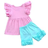 Girl Cothes Set 2pcs Cute Flutter Sleeve T Shirts And Ruffle Shorts Cotton Pattern Kids Clothing