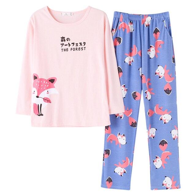 Новинка весны лиса штаны с рисунком + Топы женские пижамы с коротким рукавом Ночная рубашка 2 шт./компл. милое летнее платье для девочек, домашняя одежда для сна Лидер продаж