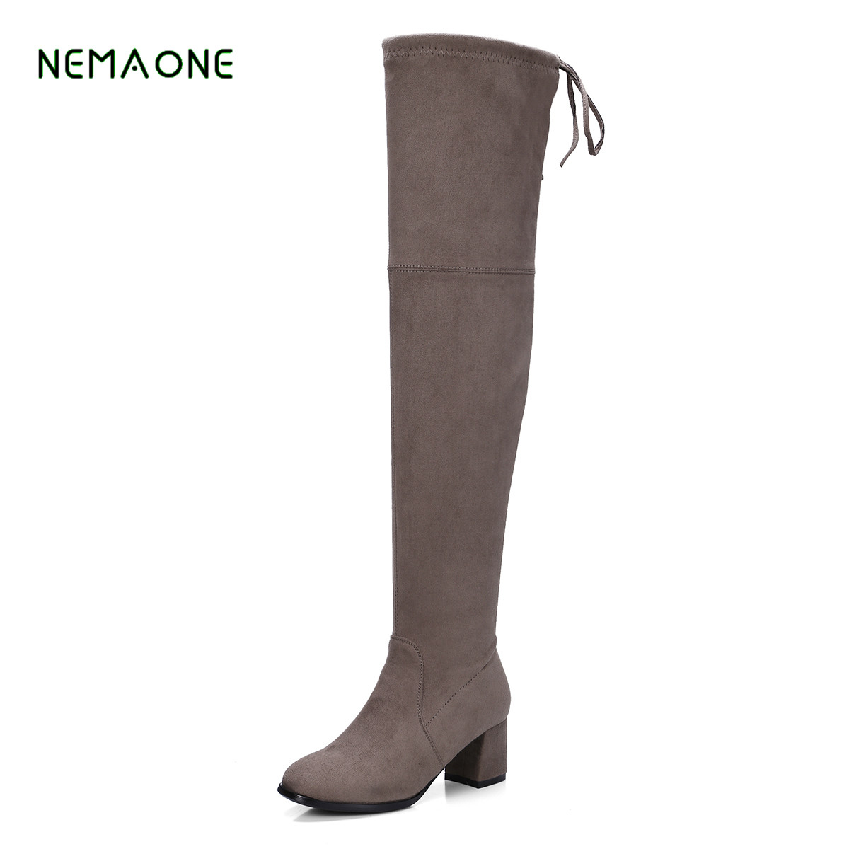 NEMAONE Shape Thigh High Boots Womens Suede Over the Knee Boots Stretch Pointed Toe Party Sexy Female Long Boots Wide Calf with