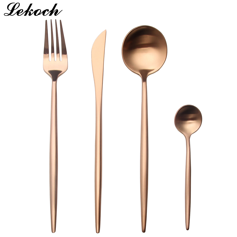 buy lekoch 18 10 rose gold cutlery set wedding set dinner forks knives scoops. Black Bedroom Furniture Sets. Home Design Ideas