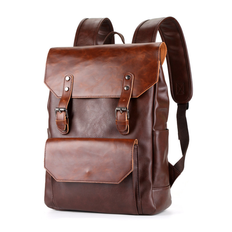 New Design Men Backpack Women Casual PU Leather Backpacks Male Rucksack 15 Inch Laptop Bag Student School Bags DSLQ9003 in Backpacks from Luggage Bags