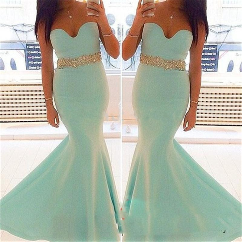 2016 Simple Gold Sash Zipper Back Evening Dress Charming Beaded Crystal Mermaid Party Dress Off The Shoulder Sweetheart Vestidos