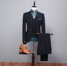 2016 Real Photo High Quality Tuxedos Luxury One ButtonThree Pieces Bridegroom Tuxedos Men Suits Cummerbund (Suit+Pants+Vest)