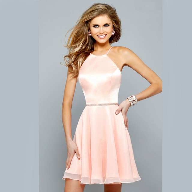 34d9c38b30 Simple sexy 2015 summer new cocktail dress halter backless beaded pink  chiffon short Coctail Dress for