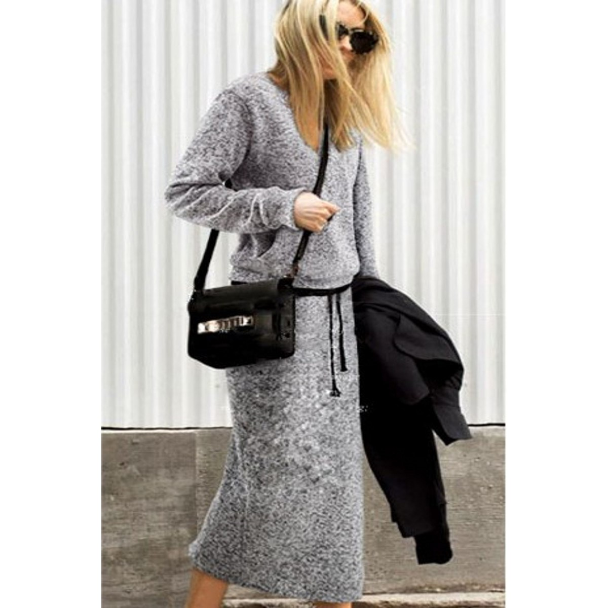 331a44c2ce7f New Autumn Women Knit Sweatshirt Skirt Set Long Sleeve Sweaters Top ...