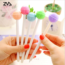 2pcs/lot Creative lovely stationery lollipop pen kawaii candy color neutral students office signature black