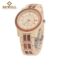 BEWELL New Arrival Unisex Alloy Wood Watch Men And Women Round Quartz Wristwatch 3 Bar Water