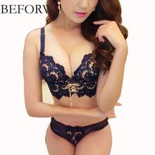 BEFORW Fashion Embroidery Bra Set Women Gather Adjusted Straps Underwear Women Bandage Bra&Briefs Set Flower Lingerie Set