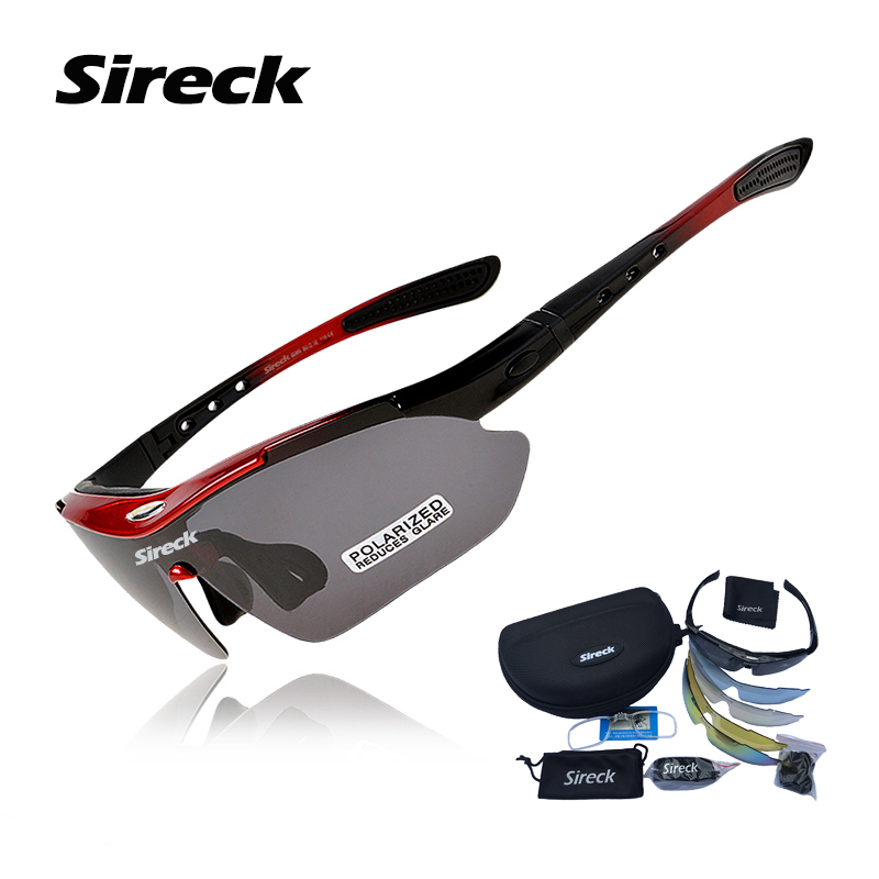 Sireck Polarized Cycling Glasses Men Women Outdoor Sports Sunglasses Bike Bicycle Glasses TR90 Cycle Goggles Eyewear w/ 5 Lens