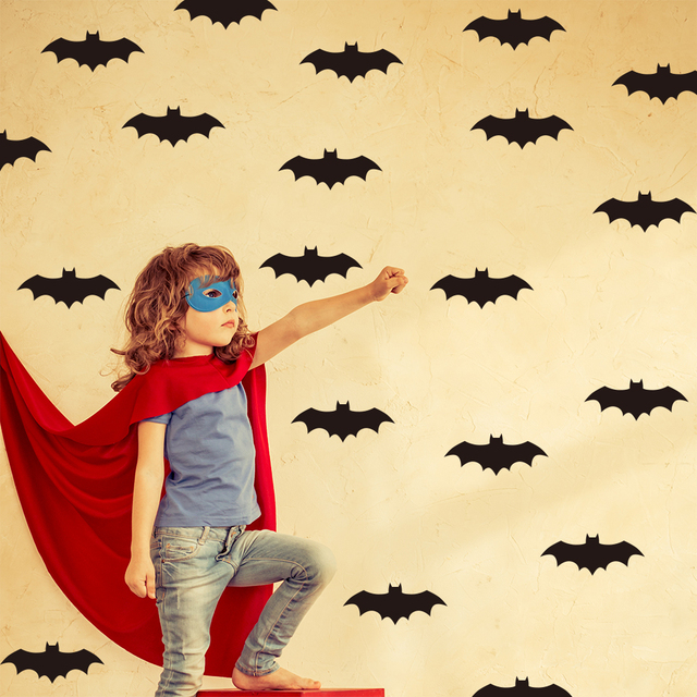 Cartoon Bat Wall Stickers Baby Nursery super hero mask Wall Decal ...