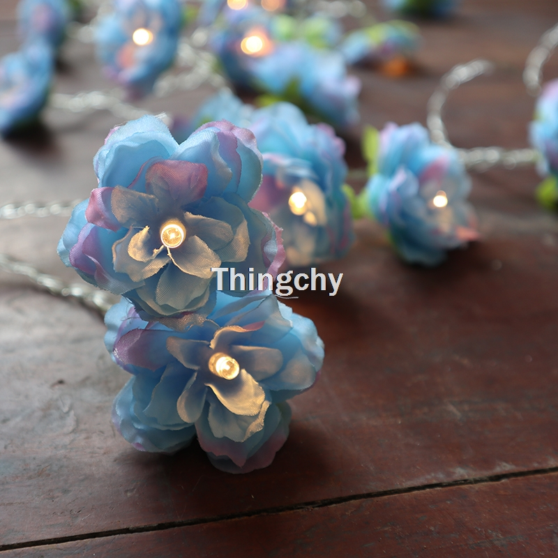 Blue Rose Flower Fairy Lights String Warm White 20 LED Lights Wedding Bedroom Decoration Centerpiece Girl For Home Deor