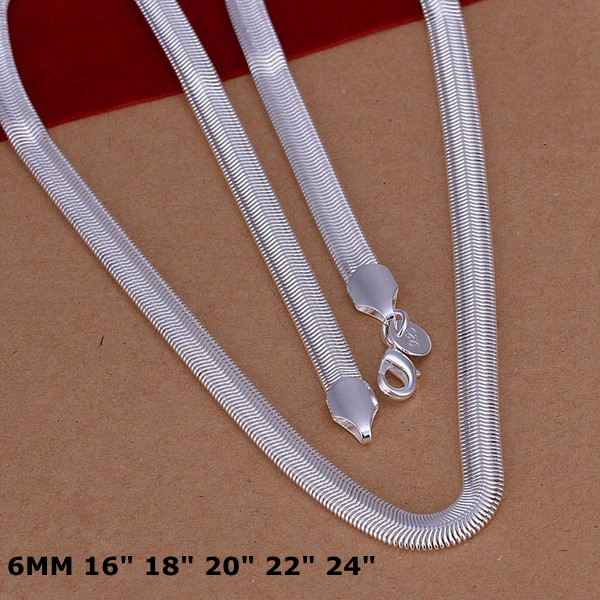 Engagement Wholesale 16 ~ 24 Inch Silver Necklace N193 Factory price 925 Free Shipping Fashion Jewelry 6mm Snake Bone Necklace
