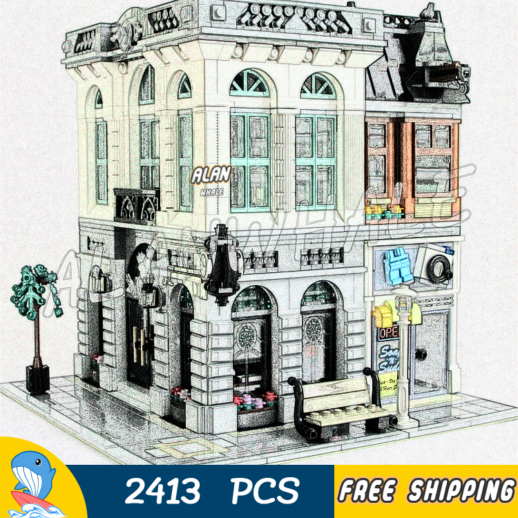 2413PCS Creator Brick Bank Street City Modular House Model Building Blocks 15001 Assemble Toys Compatible With <font><b>LegoING</b></font> image