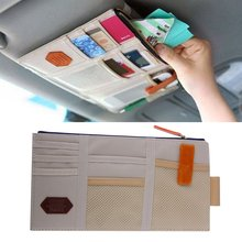 New Car Sun Visor Storage Point Pocket Documents Organizer Bag Pouch Card Holder Credit Card Namecard pen beige hot selling