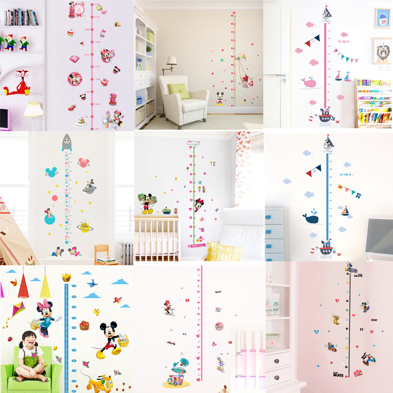 Cartoon Mickey Minnie Height Measure Wall Stickers Decals For Kids Room Living Room Bedroom Growth Chart Wall Art Poster