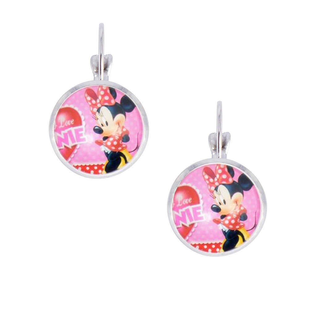 Cute Animal Pendant Earrings, Cartoon Mouse Photo Glass Cabochon Clip Earrings for Women/Girls, DIY