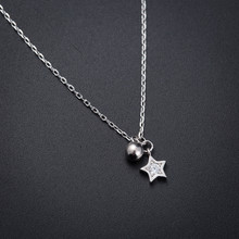 Hot Minimalism Small Bead Star Pendant Necklaces For Women Ladies Silver Color Chain CZ Stone Choker Necklace Pentagram Jewelry