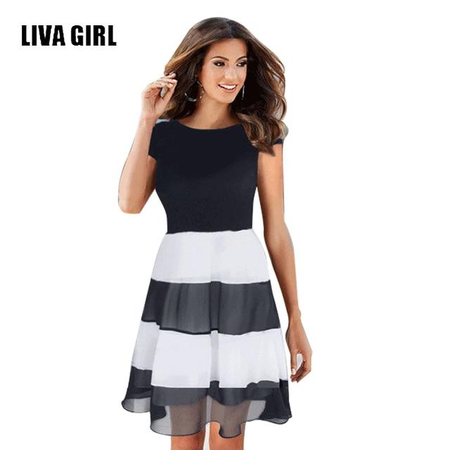 4c9e17b95 Liva Girl Autumn Dresses Casual Short Sleeve Black White Striped Dress  Elegant Women Wear To Office Party Self Portrait Dress