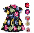 New Arrival, Kids Girls Flower Dresses 2-6Y Girl Floral Printed One-piece Dress With Ribbon Waist 6 Designs Kid Uniform Dress