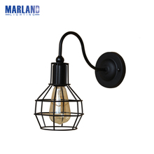Loft Vintage Wall Lights American Industrial Wall Sconce Edison Bulb Wall Lamps Retro Metal Lampshade Cages Lamps 220V(D5098)