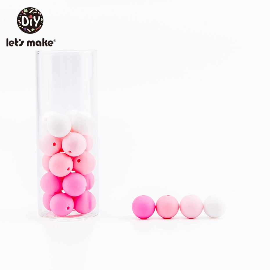 Let's Make Silicone Beads 12mm Can Chew 100pc Pink Series Teething Accessories DIY Nursing Necklace Bracelet Baby Teether Beads