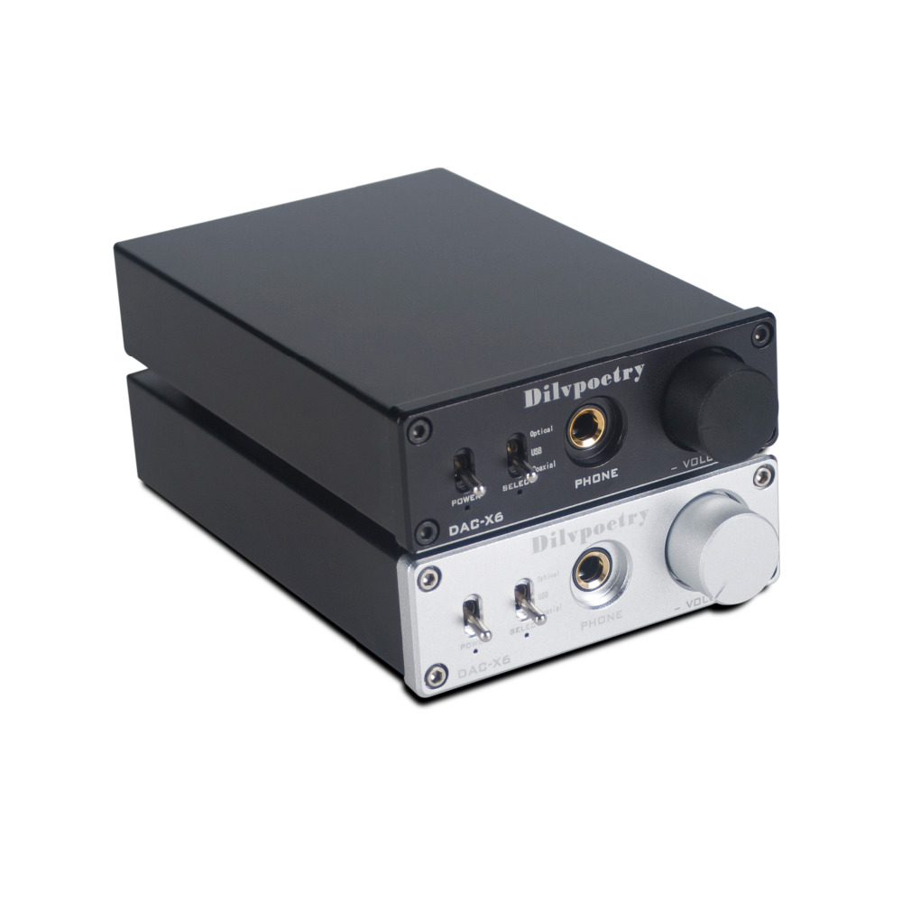 Dilvpoetry DAC-X6 Fever HiFi AMP CS8416+AK4452+JRC5532 USB Fiber Coaxial Digital Audio Decoder DAC 24BIT/192 fx audio dac x6 hifi 2 0 digital audio decoder dac input usb coaxial optical output rca amplifier 16bit 192khz dc12v