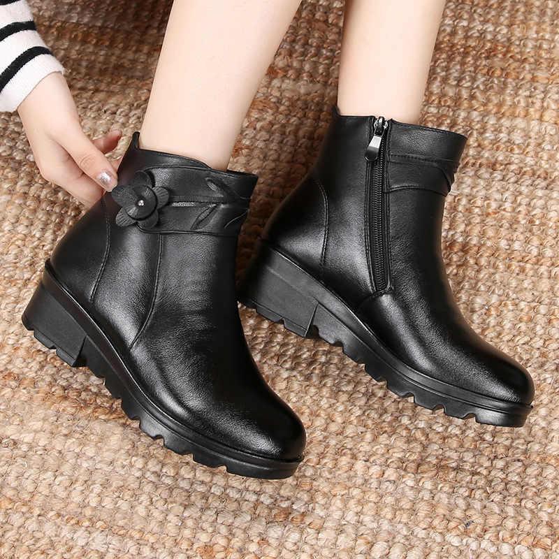 ZZPOHE חדש אופנה עור נשים קרסול מגפי חורף עמיד למים חם אישה שלג מגפי נקבה החלקה נעליים יומיומיות גבירותיי מגפיים
